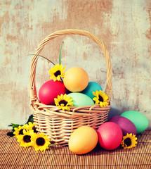 Egg and basket. Vintage retro hipster style version