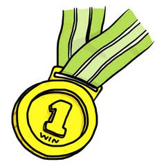 golden medal, winner place