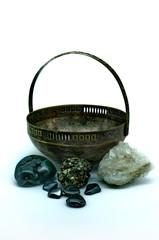 Old vase and gemstones