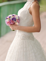 Bride with Violet Bouquet