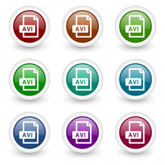 avi vector icon set