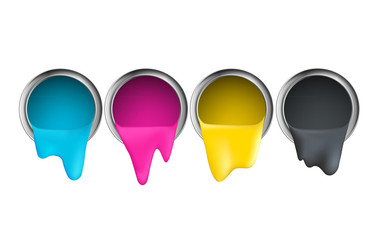 buckets with cyan magenta yellow black paint on a white backgrou