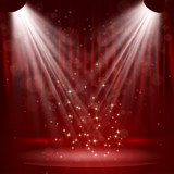 Spotlight on stage curtain with stars.