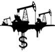silhouette pumpjack and oil with the dollar - 79228717