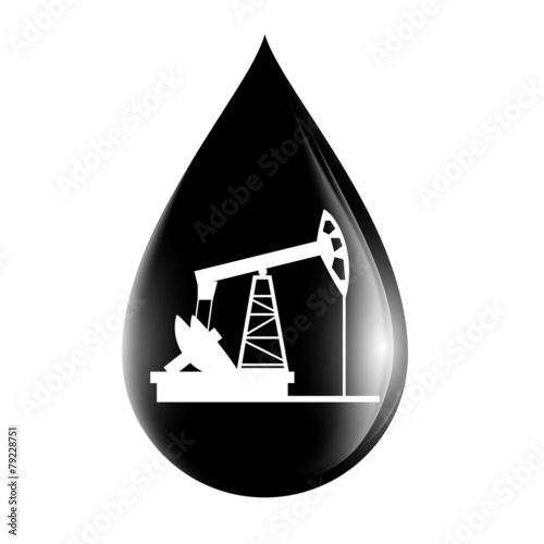 pumpjack silhouette on a drop of oil - 79228751