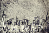 Concrete gray wall with fissure. Sketch of buildings poster