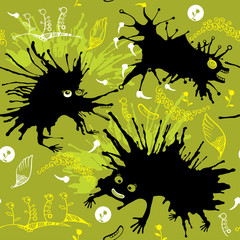 Seamless pattern with black monsters.