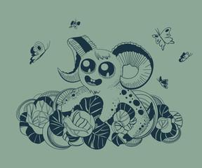 Illustration of cute fantastic Aries.