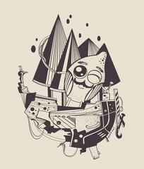 Illustration of cartoon sailor-lemon.