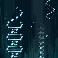 molecule on a blue background