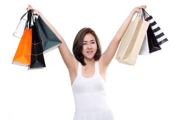 woman asian happy smiling holding shopping bags isolated