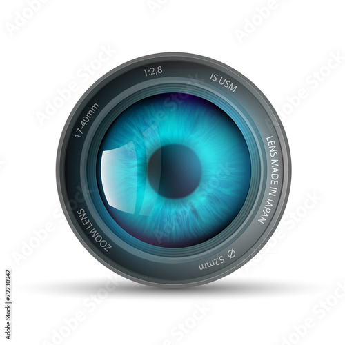 eye inside the camera lens - 79230942