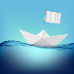 paper boat with a white flag floats on the water surface