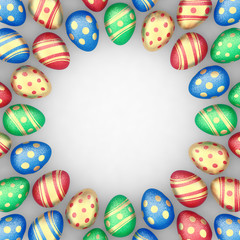 Decorated easter eggs as a frame , copyspace