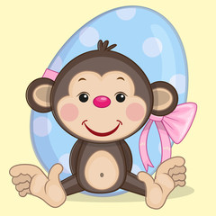 Monkey with egg