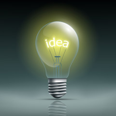 Light bulb with the word idea