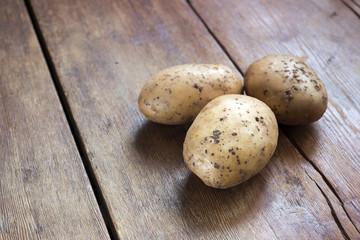 potatoes on wood
