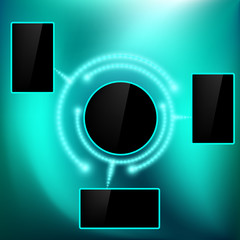 Abstract background with a black screen