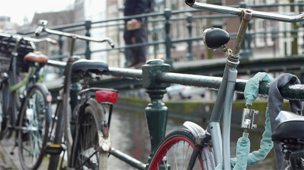 Bikes and canal an urbanscape in Amsterdam, the Netherlands