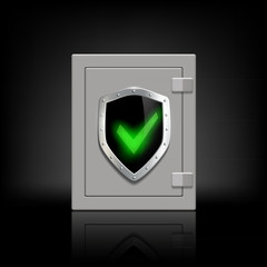 metal safe with a shield which depicts a tick