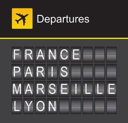 France flip alphabet airport departures, Paris