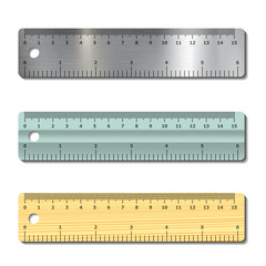 set of measurement rulers isolated on white background