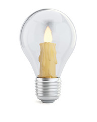 Burning candle in the light bulb