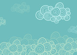 Fototapety Stylized spiral clouds on the blue background