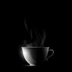 cup with a drink on a black background