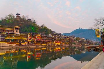 鳳凰古城 夕方 風景イメージ