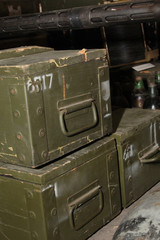 wooden boxes of ammunition