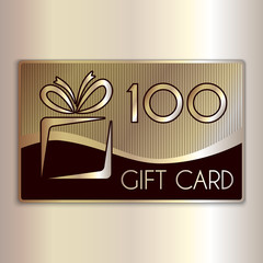 Vector abstract gift card for one hundred in gold and beige