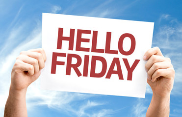 Hello Friday card with sky background