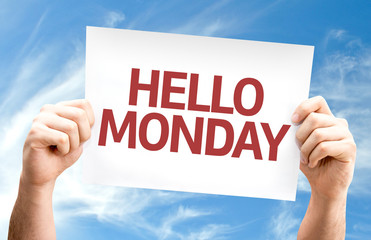 Hello Monday card with sky background