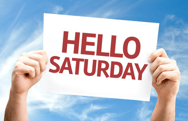 Hello Saturday card with sky background
