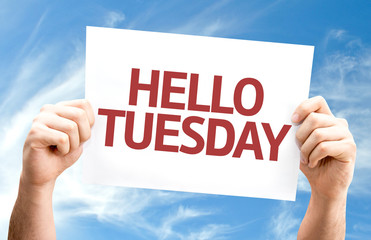 Hello Tuesday card with sky background