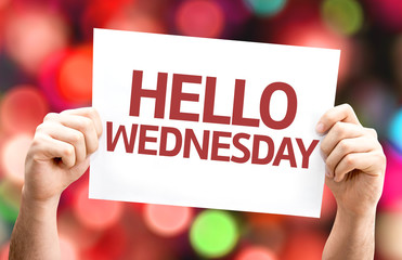 Hello Wednesday card with colorful background