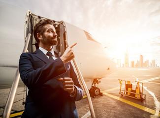 businessman at an airport