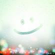 smile drawn on Sweaty Window - 79237379