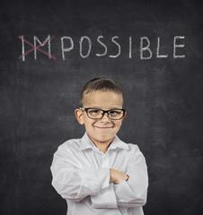 Positive thinking attitude concept. Confident smart boy