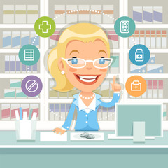 Pharmacist Woman Behind the Counter
