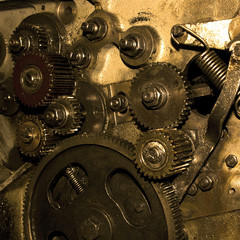 close-up view of gears from old mechanism