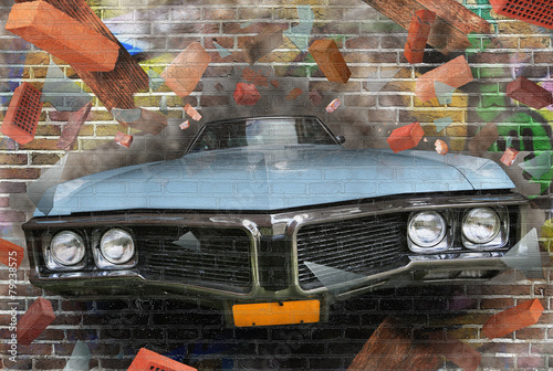 Background color of street graffiti on a brick wall
