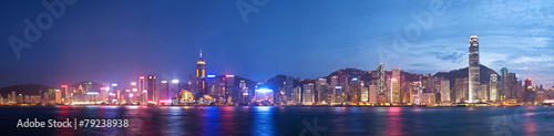 Fotobehang Hong-Kong High resolution panoramic view of Hong Kong at night