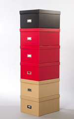 Filing boxes in a selection of colours