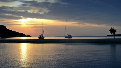Amazing video Mediterranean sunset with yachts