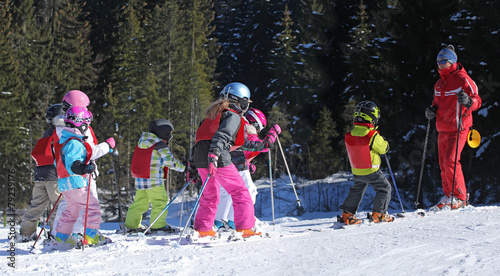Foto op Canvas Wintersporten Cours de ski-9392