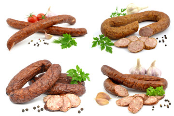 set of different sausages