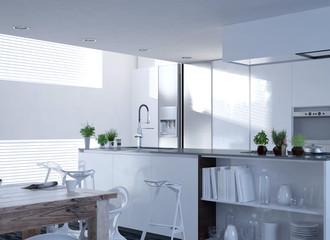 Moderne weiße Luxus Küche   Architektur Interieur / Interior