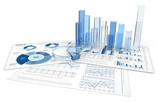 Fototapety Analyze.Blue infographics with 3D graphs and charts of glass.